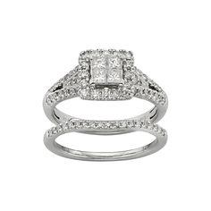 IGL Certified Diamond Square Halo Engagement Ring Set in 14k White Gold (1 Carat T.W.), Women's, Size: 5