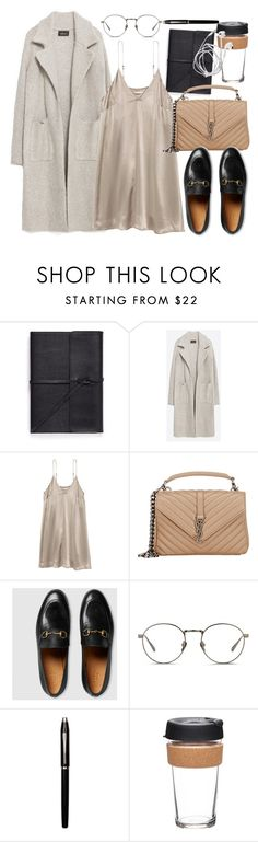 """""""Untitled #2587"""" by mandyzng ❤ liked on Polyvore featuring Bynd Artisan, Zara, Yves Saint Laurent, Gucci, Linda Farrow, Cross and KeepCup"""
