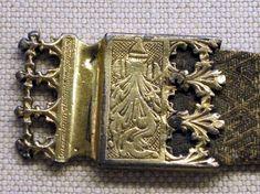 Girdle End Plate, Belt with Silver-gilt, semi-precious stones, silk, silver thread. L. 178cm; W. 3 cm. Belt with struts 1250-1325, buckle and end facings c. 1450.