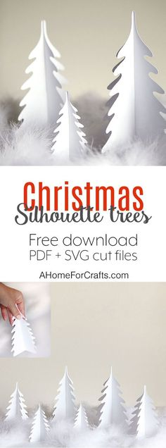 Silhouette Christmas trees - free download pdf and svg cut files