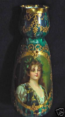 *DRESDEN ~ Hand Painted Portrait Porcelain Vase, sorry, no other information. Love the colors!
