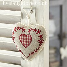 Maison Padded Hanging Heart-Gingham red and white heart