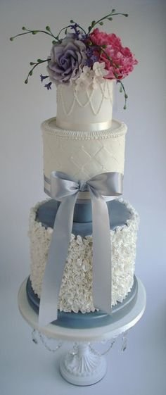 Ruffle wedding cake - by Katie @ CakesDecor.com - cake decorating website