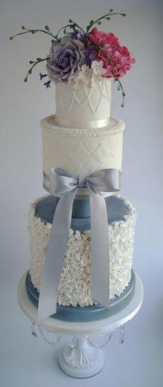 Ruffle wedding cake - by Katie @ CakesDecor.com - cake decorating website