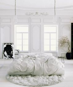 Parisian Apartment soft white bedroom with black accents and potted tree rug