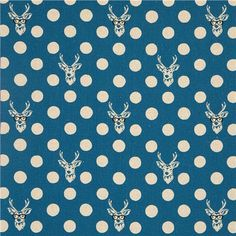 echino laminate fabric Buck stag deer with glasses blue 2