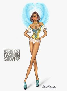 awesome Illustration by Jane Kennedy for the Victoria's Secret Fashion Show 2012 www. Diva Fashion, Fashion Stylist, Fashion Art, Fashion Design, Beauty Illustration, Fashion Illustration Sketches, Fashion Model Sketch, Fashion Sketches, Costume Design Sketch