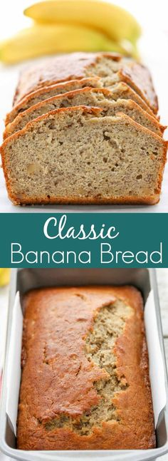 This Classic Banana Bread is perfectly sweet, moist, and full of flavor! This Classic Banana Bread is perfectly sweet, moist, and full of flavor! You can enjoy this bread p Köstliche Desserts, Delicious Desserts, Dessert Recipes, Yummy Food, Dinner Recipes, Cocktail Recipes, Best Banana Bread, Banana Bread Recipes, Simple Banana Bread