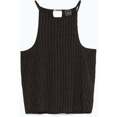 Zara Ribbed Top (24 PLN) ❤ liked on Polyvore featuring tops, shirts, tank tops, crop tops, black, rib tank, crop top, zara tops, rib tank top and rib shirt