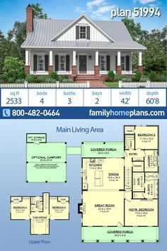 Traditional Style House Plan 51994 With 4 Bed 3 Bath 2 Car Garage Family House Plans Country Floor Plans House Plans