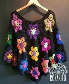Long Sleeve Crocheted Casual SweaterYou can find Ponchos and more on our website. Col Crochet, Crochet Poncho Patterns, Crochet Blouse, Crochet Granny, Crochet Shawl, Easy Crochet, Casual Sweaters, Cardigans, Crochet Fashion