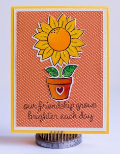 Friendship card - Scrapbook.com - Use Ranger Stickles to accent stamped, colored images.