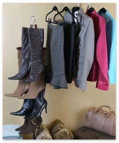 Boot Stax™ (Set of 5) - The most compact way to store your boots! Save closet space, protect your boots, and keep pairs organized without taking up any floor space!