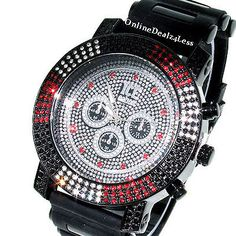 ICED OUT MEN'S 3 ROW BLACL/RED/CLEAR ICE NATION HIP HOP BLING SILICONE WATCH