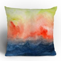 Brush Fire throw pillow from the abstract watercolor painting by Jacqueline Maldonado