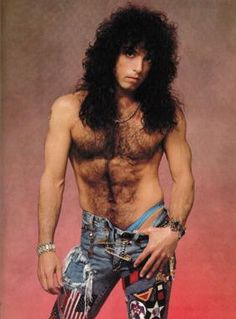 Paul Stanley from 'Kiss' posing like a total hairy douchebag back in the 80's...Hahaha!! too funny!