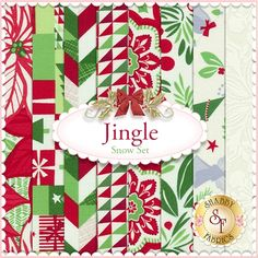 Jingle 8 FQ Set - Snow Set by Kate Spain for Moda Fabrics: Jingle is a collection by Kate Spain for Moda Fabrics. 100% Cotton. This set contains 8 fat quarters, each measuring approximately 18