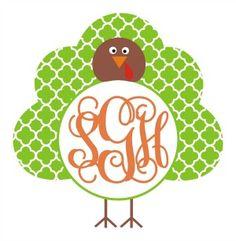 Quatrefoil Turkey Monogram Frame SVG $1