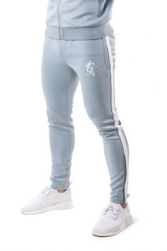 Tapered Poly Tracksuit Bottoms – Fog/White #GymKing