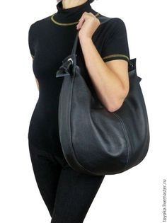 "Handbags handmade. Livemaster - handmade. Buy Copy of ""Glob"", genuine leather handbag hobo black.Genuine leather bag"