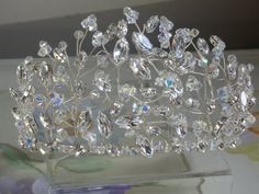 Handmade crystal tiara 3.5 inches high by LornaGreenTiaras on Etsy