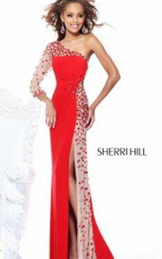 Sherri Hill Prom Dress 1540 Red Nude