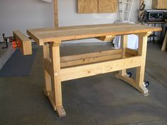 A good cheap solid bench with a great inexpensive vise. I've been using a double pipe clamp vise and it works great and holds well but there's very little room between the pipes. Workbench Designs, Workbench Plans, Woodworking Workbench, Woodworking Workshop, Woodworking Projects Plans, Workbench Vise, Diy Concrete Countertops, Tool Bench, Wood Tools