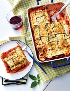 Three cheeses and thin, woven strips of zucchini make this one-pan classic a crowd-pleaser.
