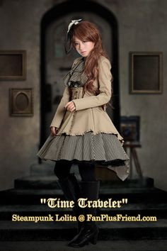 "Gorgeous outfit! ""Time Traveler"" Steampunk Lolita Coattail Double-Layer Skirt*2color Instant Shipping"