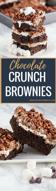 Chocolate Crunch Brownies – Brownies layered with marshmallow cream and chocolate peanut butter Krispies . Homemade killer crunch brownies are a family favorite.