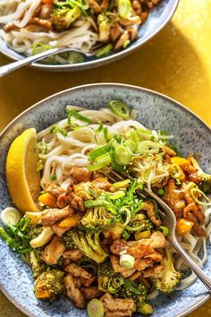 Put your table manners to the side just for tonight – we're slurping these saucy noodles without any shame. Along with zippy lemon pepper seasoning this colourful bowl is perfectly satisfying on a hectic weeknight. Pork Stir Fry, Stir Fry Dishes, Stir Fry Recipes, Pork Recipes, Food Dishes, Healthy Recipes, Family Recipes, Main Dishes, Macro Meals