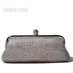 19ca2ffe8b6b Elegant Silver Horizontal Shape Rhinestone Glitter Satin Evening Bag For  Woman