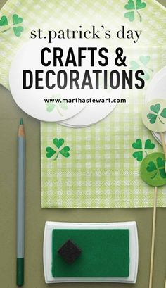 St. Patricks' Day Crafts & Decorations | Martha Stewart Living - Let your kids create their own luck with four-leaf-clovers fashioned from green card stock.