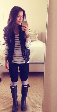 Rainy day stripes and Hunter boots