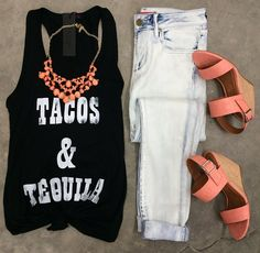 Tacos & Tequila Tank | Chelsea Light Wash Jean | Retriever By BC Footwear | Enchanted Necklace {Coral} >> OBSESSED!