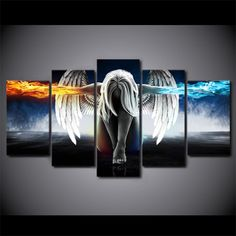5 piece canvas art angel with wings fire