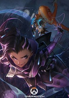 Overwatch - sombra Getting traced by Tracer Overwatch Tracer, Overwatch Comic, Overwatch Mobile Wallpaper, Overwatch Wallpapers, Character Art, Character Design, Character Sketches, Overwatch Community, Fanart