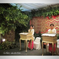 """We used """"songket"""" pattern to be used as decorative background at reception area. #galenidecor #loveindonesia #melayunight #weddingdecoration #reception #adatmelayu #dekorasipernikahan #bandungconventioncentre"""