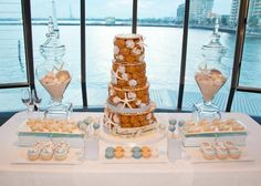 nautical dessert table baptism party boy