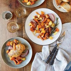 Cook once, eat 3 times: mustard glazed chicken with roasted vegetables, Roasted Vegetable and Spinach Turnovers, Roasted Vegetable Soup Roasted Vegetable Soup, Roasted Vegetables, Vegetable Recipes, Veggie Soup, Root Vegetables, Healthy Menu, Healthy Eating, Healthy Recipes, Fast Recipes