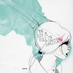 #troistone #tshirt #handmade #design #unique #fashion #watercolor #ghosts #girl #cute #babyblue