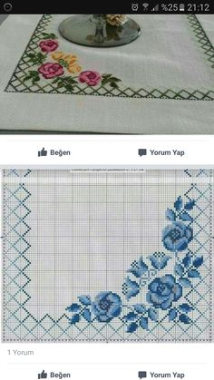 Dining Table Cloth, Magnolia, Embroidery Designs, Elsa, Alphabet, Cross Stitch, Flowers, Instagram, Tablecloths