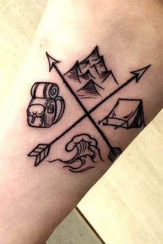 Forearm Tattoos, Body Art Tattoos, Tattoo Drawings, Sleeve Tattoos, Hiking Tattoo, Camping Tattoo, Tattoo Travel, Small Tattoos Men, Mini Tattoos