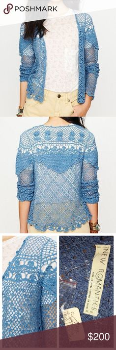 FREE PEOPLE Cardigan Crochet Sweater Bomber Jacket Size XS. New With Tags. $148 Retail + Tax.   • Beautiful and sophisticated, this blue crochet cardigan is perfect for dressing up or down.  • Features an unlined silhouette, intricate knit detailing and button front placket. • Relaxed, soft and a complete standout piece!  • Measurements provided in comment(s) section below.  {Southern Girl Fashion - Closet Policy}   ✔Bundle discount: 20% off 2+ items.   ✔️ Items are priced to sell…