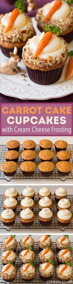 Carrot Cake Cupcakes with Cream Cheese Frosting (and Marzipan Carrots) - these make for a great Easter dessert. Cupcake Cream, Cupcakes With Cream Cheese Frosting, Cupcake Recipes, Baking Recipes, Dessert Recipes, Gourmet Cupcakes, Homemade Desserts, Carrot Cake Cupcakes, Cupcake Cakes