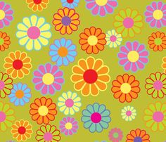 Hippe Flowers Green fabric by theodesign on Spoonflower - custom fabric Hippie Wallpaper, Retro Wallpaper, Aesthetic Iphone Wallpaper, Flower Wallpaper, Aesthetic Wallpapers, Wallpaper Backgrounds, Fabric Wallpaper, Bedroom Wall Collage, Photo Wall Collage