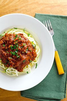Crockpot Turkey Bolognese With Zucchini Noodles Recipe.