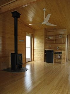 "this is the inside of a former doublewide converted into t prefabricated ""sustainable cabin."" yes really."