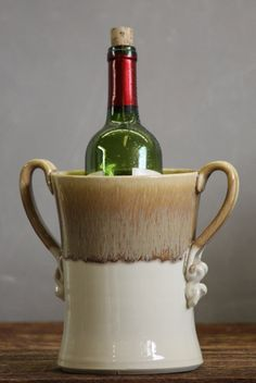 Wine Chiller Utensil Holder White Caramel brown by AviorPottery, $42.00