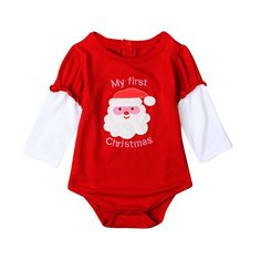 Christmas Cute Newborn Baby Rompers Long Sleeve Baby Girls Clothing Santa Claus Costume One-Piece Baby Clothes New Year Outfits #Affiliate
